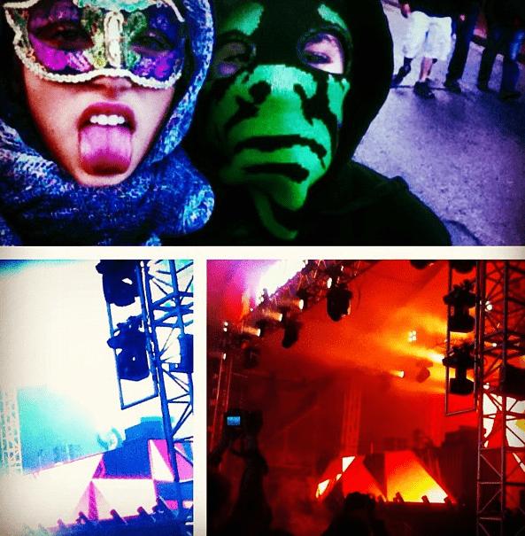 Rocco con Lola en un concierto de Skrillex