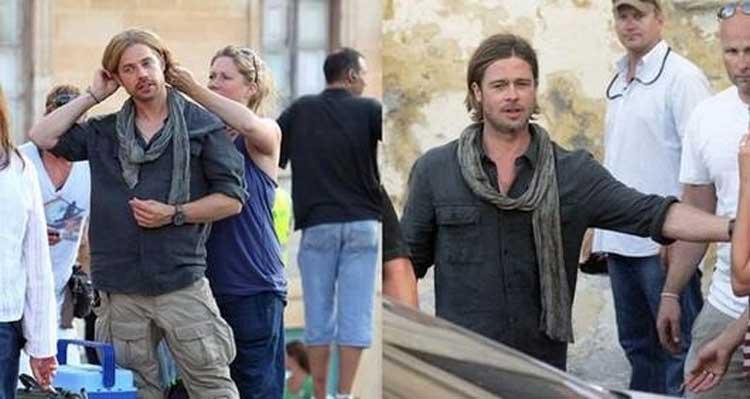 Brad Pitt y su doble en 'Guerra Mundial Z' | Amenzing Brad Pitt