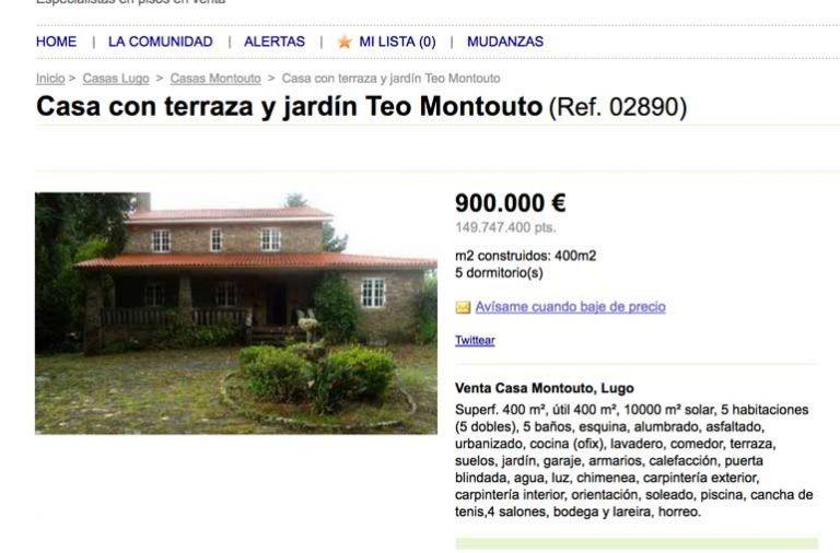 El anuncio de la casa de la familia Porto en venta.