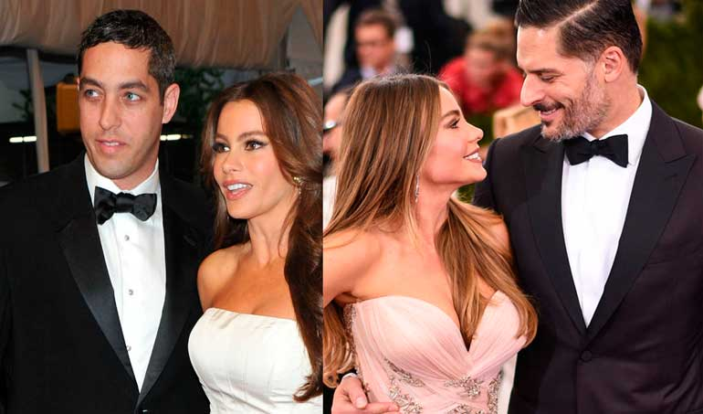 Sofía Vergara con su ex y con su actual marido.