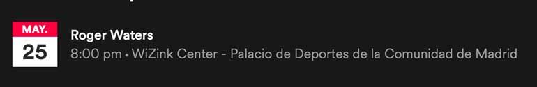Entradas Roger Waters WiZink Madrid