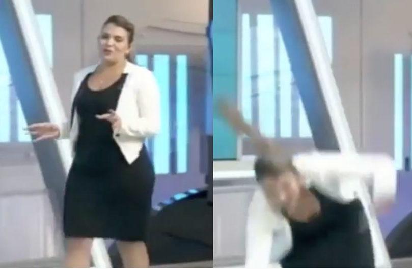 Caída presentadora venezolana